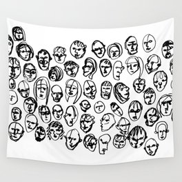 Black and White Line Drawing Faces Wall Tapestry