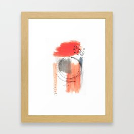 Comfort Zone - A minimalistic india ink and acrylic abstract piece in pink, black, gray, and blue Framed Art Print