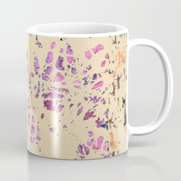 Fiber art, mixed media, fabric collage, beige off-white blue pink purple Coffee Mug