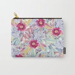 Modern Pink Mint Coral Blue Watercolor Flowers  Carry-All Pouch
