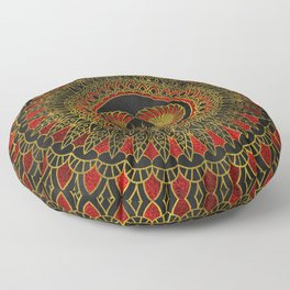Egyptian Scarab Beetle - Gold and red  metallic Floor Pillow
