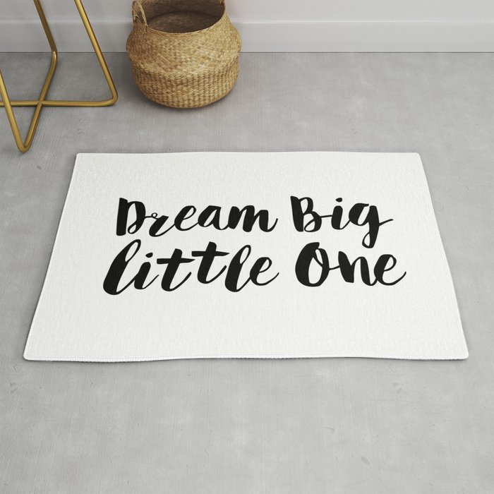 Dream Big Little One black-white minimalist childrens room nursery poster  home wall decor bedroom Rug by themotivatedtype