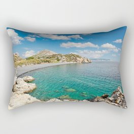 The famous beach Mavra Volia in Chios island, Greece Rectangular Pillow