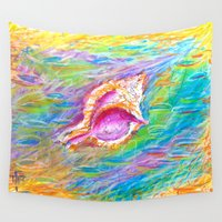 seashell Wall Tapestries featuring summer seashell by Tereza Del Pilar