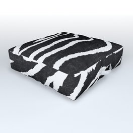 ANIMAL PRINT ZEBRA GRAY RUSTIC Outdoor Floor Cushion