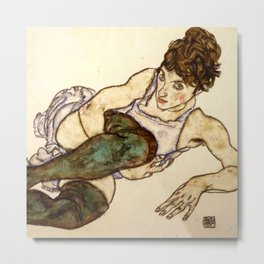 "Egon Schiele ""Reclining Woman with Green Stockings"" Metal Print"