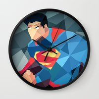 dc comics Wall Clocks featuring DC Comics Man of Steel by Eric Dufresne