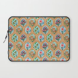 Tiger , protea, hibiscus, palm ogee pattern in watercolor Laptop Sleeve