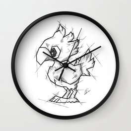 Chocobo Handmade Drawing, Made in pencil and ink, Tattoo Sketch, Final Fantasy Art Wall Clock