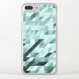 Slanted Squares - Turquoise - Modern Angular Pattern Clear iPhone Case