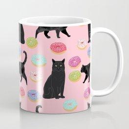 Black cat donuts cat breeds cat lover pattern art print cat lady must have Coffee Mug