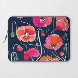 Wild Poppies Dark Laptop Sleeve