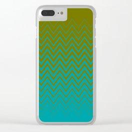 gradient chevron pattern aqua olive Clear iPhone Case