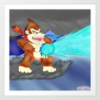 donkey kong Art Prints featuring Donkey Kong Super Kamehameha by Juiceboxkiller