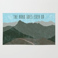 tolkien Area & Throw Rugs featuring The road goes ever on by AhaC