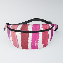 Lipstick Stripes - Floral Fuschia Red Fanny Pack
