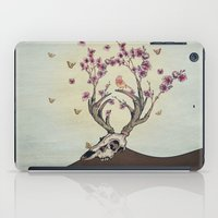 animal skull iPad Cases featuring Animal Skull and Butterflies by Paula Belle Flores