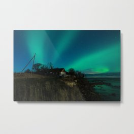 Abandoned house with northern lights in Estonia Metal Print