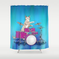 drums Shower Curtains featuring Cat Playing Drums - Blue by Ornaart