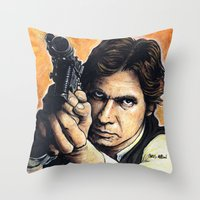 han solo Throw Pillows featuring HAN SOLO by CHRIS MASON