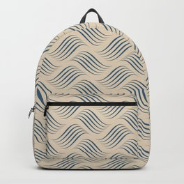 Blue & Beige Wavy Tessellation Line Pairs To 2020 Color of the Year Chinese Porcelain PPG1160-6 Backpack
