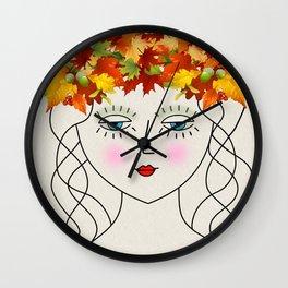 Bohemian Boho Autumn Girl Wall Clock
