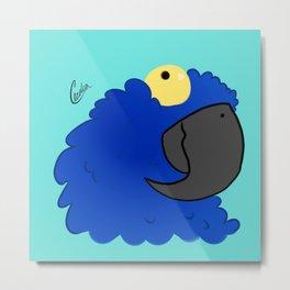 Derpy Blue Macaw Metal Print