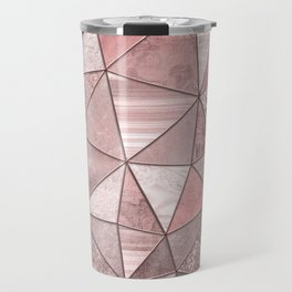 Soft Pink Coral Glamour Gemstone Triangles Travel Mug