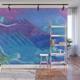 Ocean Nomads, Mermaids and Fish, Blue Pink Purple Wall Mural