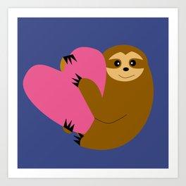 Sloth in love blue Art Print