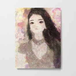 Girl's Portrait with Long Hair Impressionist Painting Metal Print