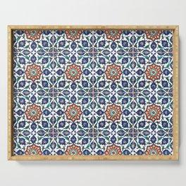 Iznik Tile Pattern Red Blue White Serving Tray