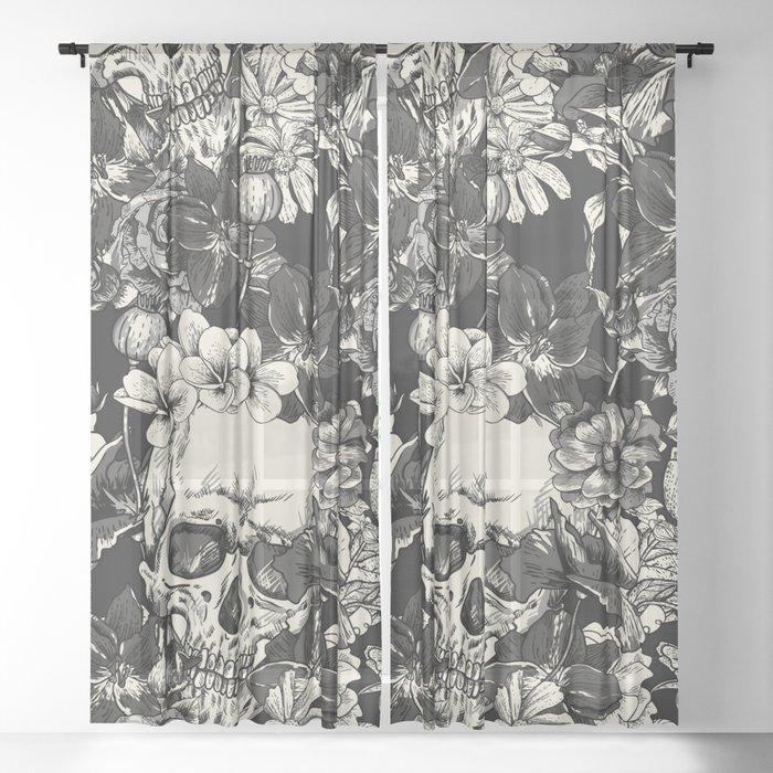 SKULLS HALLOWEEN SKULL Sheer Curtain