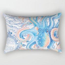 Octopus Tentacles Blue Vintage Map Rectangular Pillow