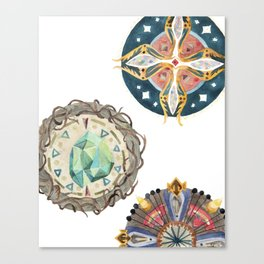 Three Decorated Wheels Canvas Print