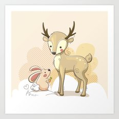 the deer & rabbit Art Print