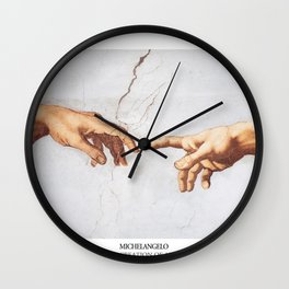 The Creation of Adam by Michelangelo Fingers Wall Clock