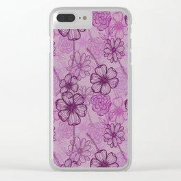 Purple doodle flowers Clear iPhone Case