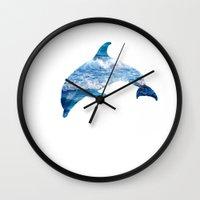 dolphin Wall Clocks featuring Dolphin by Inna Trifonova