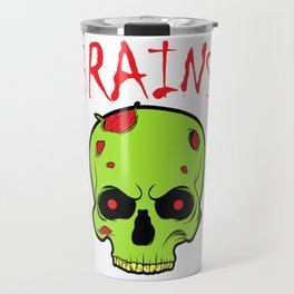 """A Unique Zombie Tee For Yourself? Here's An Awesome T-shirt Saying """"Brains!"""" Design Wounds Bone Travel Mug"""