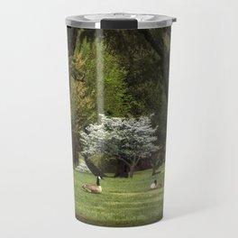 Geese in Meadow Travel Mug