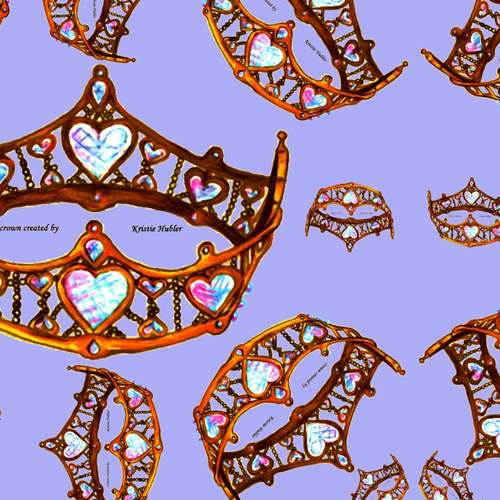 Queen of Hearts gold crowns tiaras repeat pattern on periwinkle background by Kristie Hubler Leggings