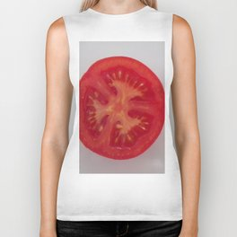 Lovely Red Tomato Sitting On A White Plate, Sliced Red Tomato Biker Tank