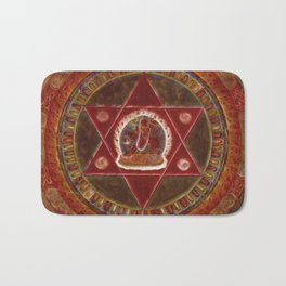 Vajrayogini stands in the center of two crossed red triangles Bath Mat