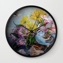 Floral still life with sparrow, bumble bee, butterfly, and sea shells Wall Clock