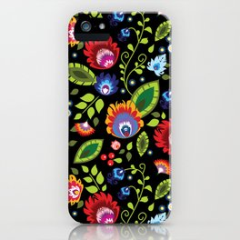 Folklore - multicoloured flowers and leaves iPhone Case