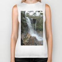 waterfall Biker Tanks featuring waterfall by LynsArtStudio