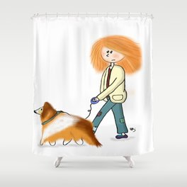 Ginger owner and dog Shower Curtain