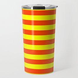 Super Bright Neon Orange and Yellow Horizontal Beach Hut Stripes Travel Mug