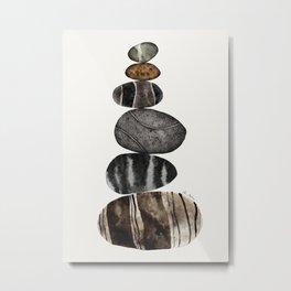 balancing beach pebbles Metal Print